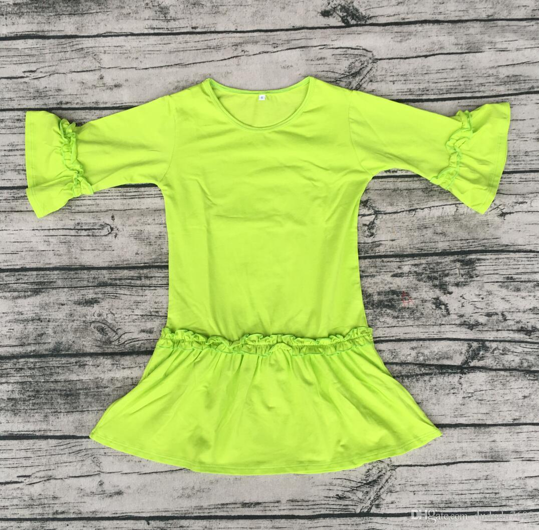 latest children frocks designs pure color long sleeve ruffle dress baby girl leisure time round neck tunics dress