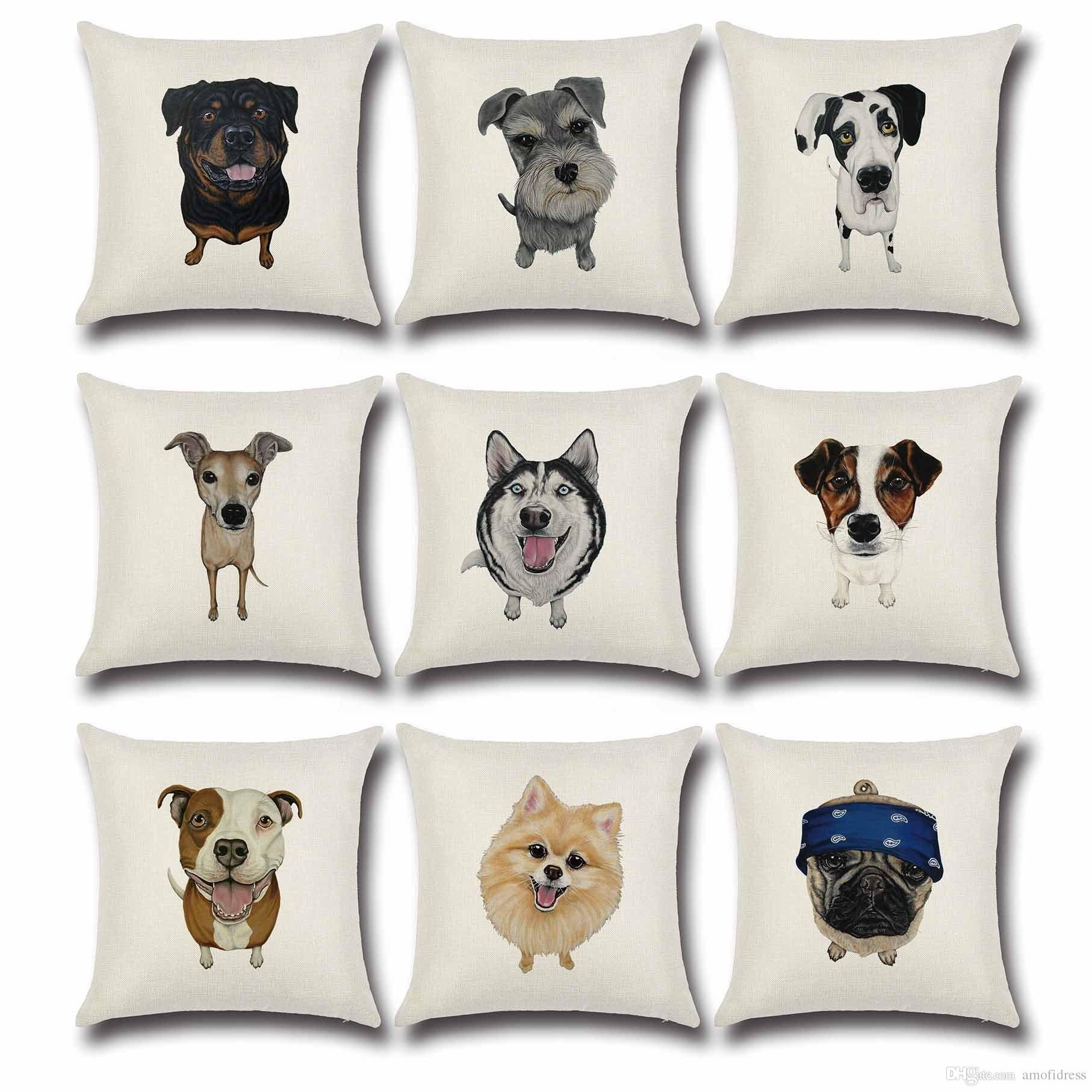 Cushion Cover Lovely Cute Pug Dog Pillowcases Cotton Linen Printed