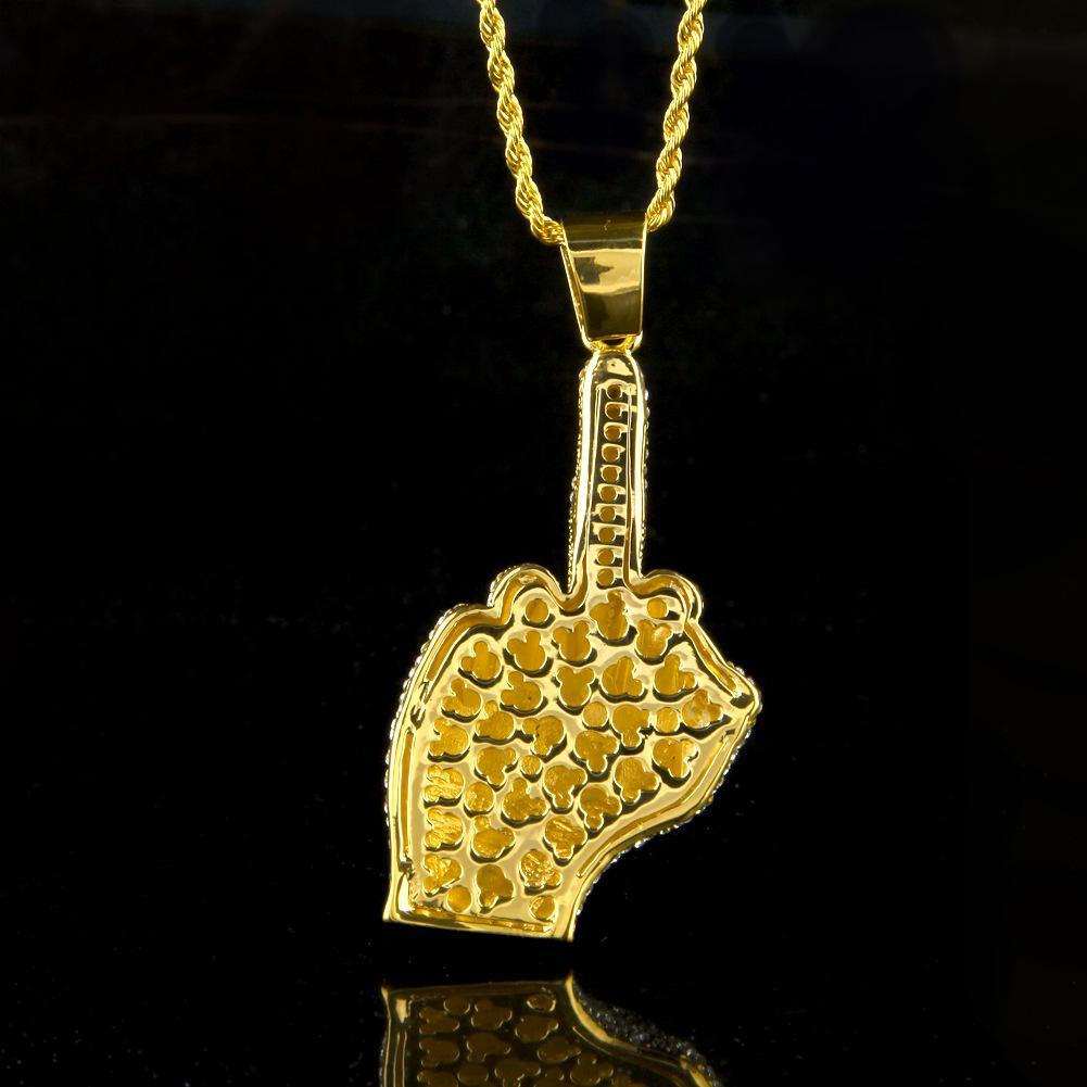 2017 Gold Überzog Schmuck Edelstein Finger Anhänger Hip Hop Halsketten Für Herren Neue Ankunft Luxus Party Geschenke Großhandel
