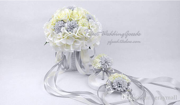 Romantic rice white silver bridal bouquets with handmade charming romantic rice white silver bridal bouquets with handmade charming wedding flowers with ribbon cheap wedding favors bridal bouquets wedding bouquets wedding mightylinksfo