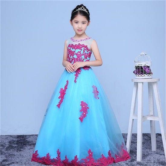 Nuovo arrivo ragazza fiore reale Abiti bambina / bambino vestito con Appliques Party Pageant Comunione Dress for Wedding