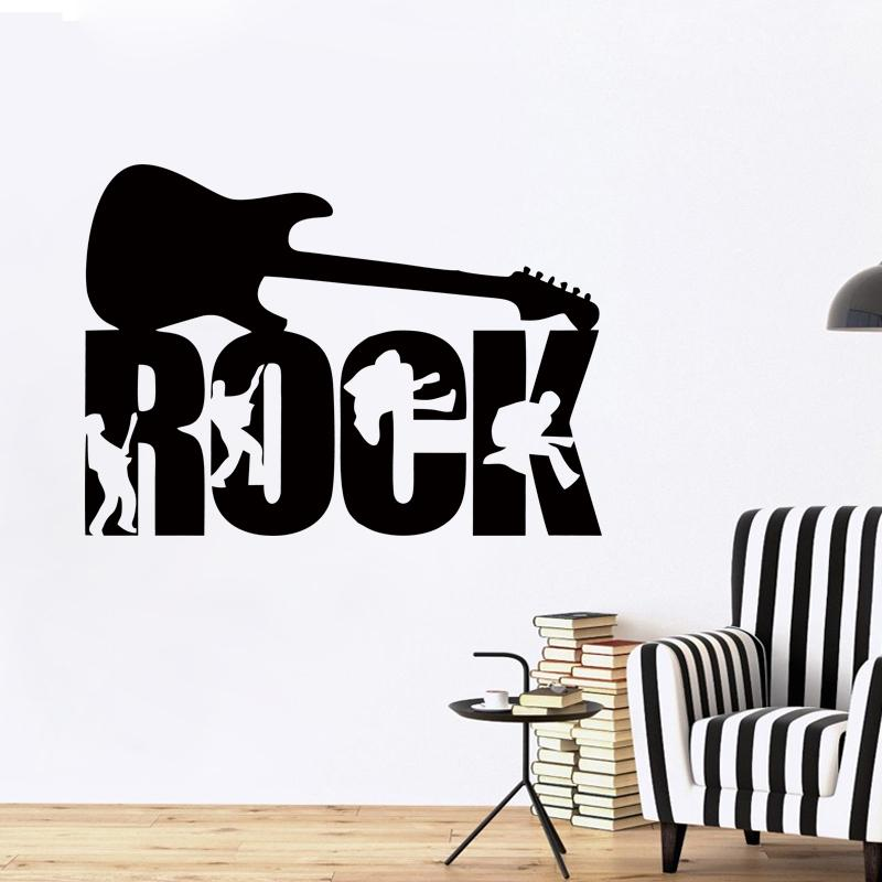 Rock guitar music band studio boys wall art stickers decals vinyl home room decor mural diy vinyl sticker wall sticker art mural online with 9 73 piece on