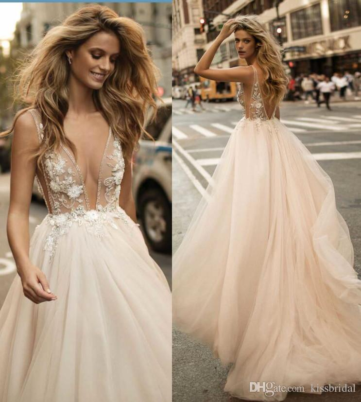 Boho 2017 Summer Beach Berta Bridal Gowns Sexy Deep V Neck Backless Wedding Dresses Luxury Crystal Beading Formal Gowns