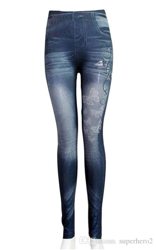 NEW Women Faux Denim Jeans Leggings Butterfly printed Pencil Slim Plush size stretch Jeggings Sexy Lady Pants trousers blue black gifts