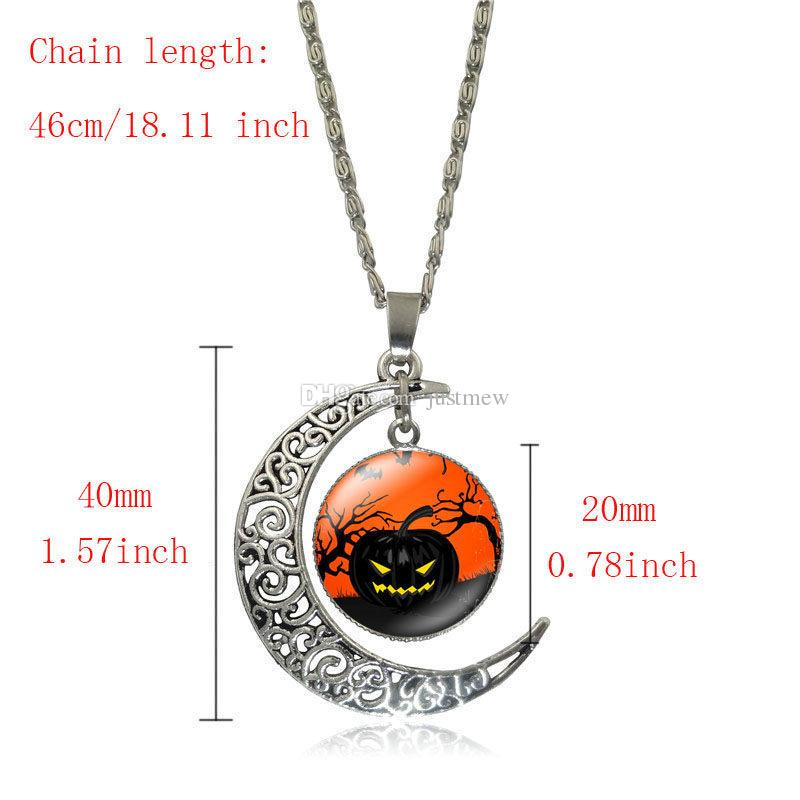Hot!Halloween children jewelry set Wicked Witch Glass Cabochon Silver Crescent Moon Pendant necklace earrings bracelet sets