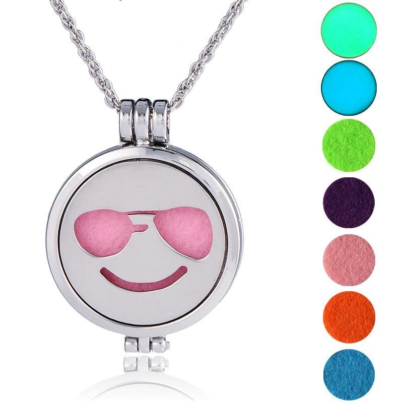 Stainless steel Expression smiling face pendants Locket emoji Round Necklace for women Float Locket Living jewelry