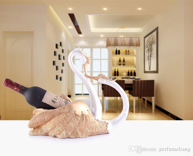 Romantisches Harz-Schwan-Paar-Liebhaber-Figur-Wein-Flaschen-Halter-kreatives dekoratives Handwerk für Wein-Anzeige und Lagerung ZA3068
