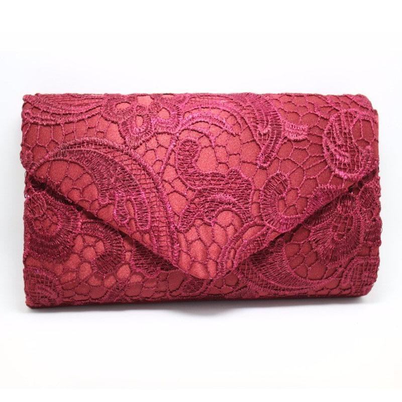 Women Envelope Lace Evening Clutch Bag Day Clutches Bridal Wedding Dresses Clutch Purse Handbags Chain Shoulder Pouch XA82B