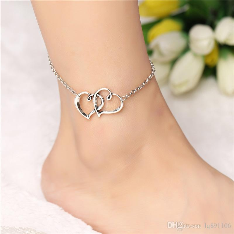 gold chain bead jewelry double ankle anklet com bracelet womens foot amazon heart beach for dp elegant