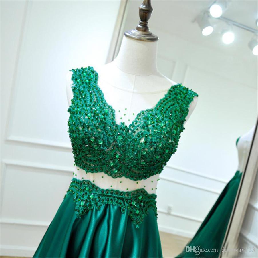Kristall Perlen Appliques Satin Abendkleider vestido de festa Backless Formale Abendkleid Neue Grüne Lange Prom Kleider