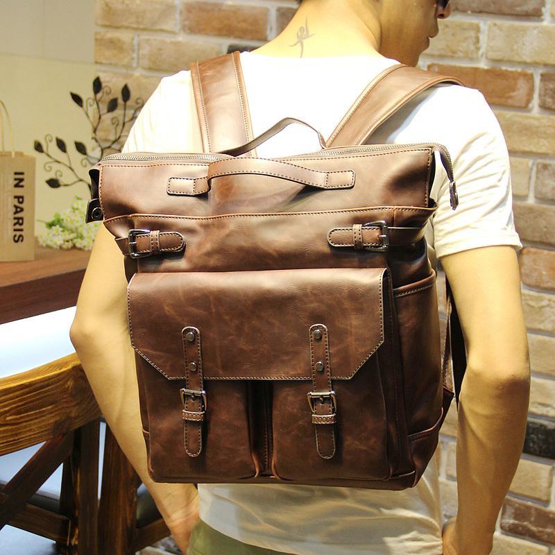 3e3aae84bdb Wholesale New Men Backpacks Vintage Crazy Horse Pu Leather Backpack Big  Size Travel Bag Student Casual Laptop Backpack School Bags Girl Backpacks  Toddler ...