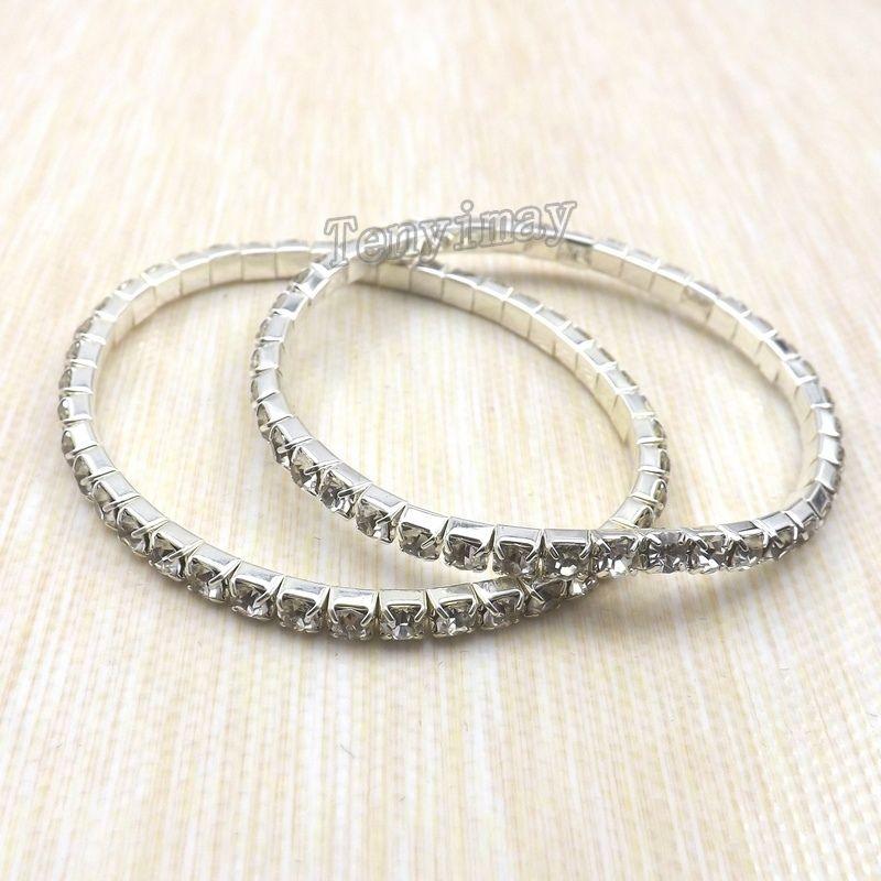 Bracelets entièrement en cristal de bracelets / faits sur commande simples de mode pour le cadeau en gros