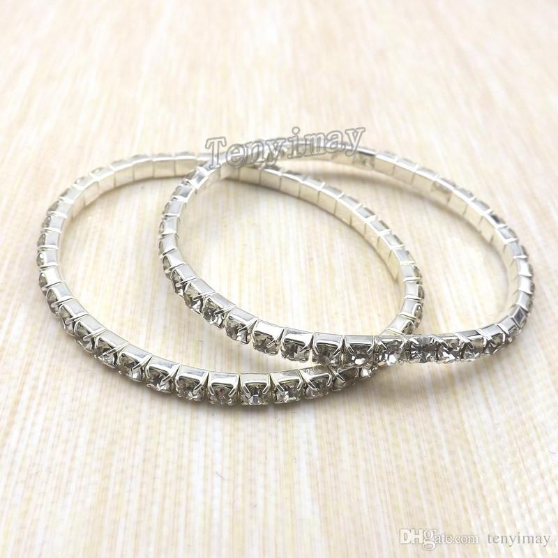 Mode Transparante Volledig juwelen Armbanden Single Row Crystal Armbanden 100 stks / partij voor Gift Groothandel