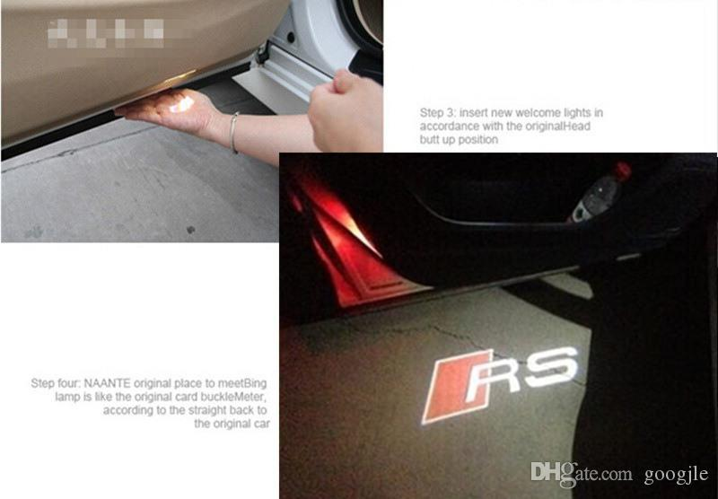 2 adet / takım Kapı LED Ghost Hoşgeldiniz Işık Projektörü Puddle Lazer Işık Audi A3 A4 A5 A6 TT Q5 Q7 TTS SLINE RS S3 S4 S5 RS3 logosu