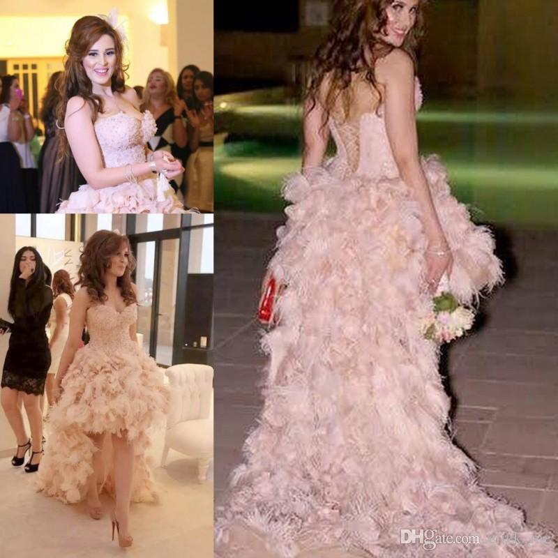 High Low Sweetheart Prom Dresses Long With Feathers Beads Lace Up
