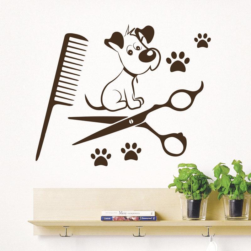 dogs wall decals paw prints salon pets animals art vinyl wall