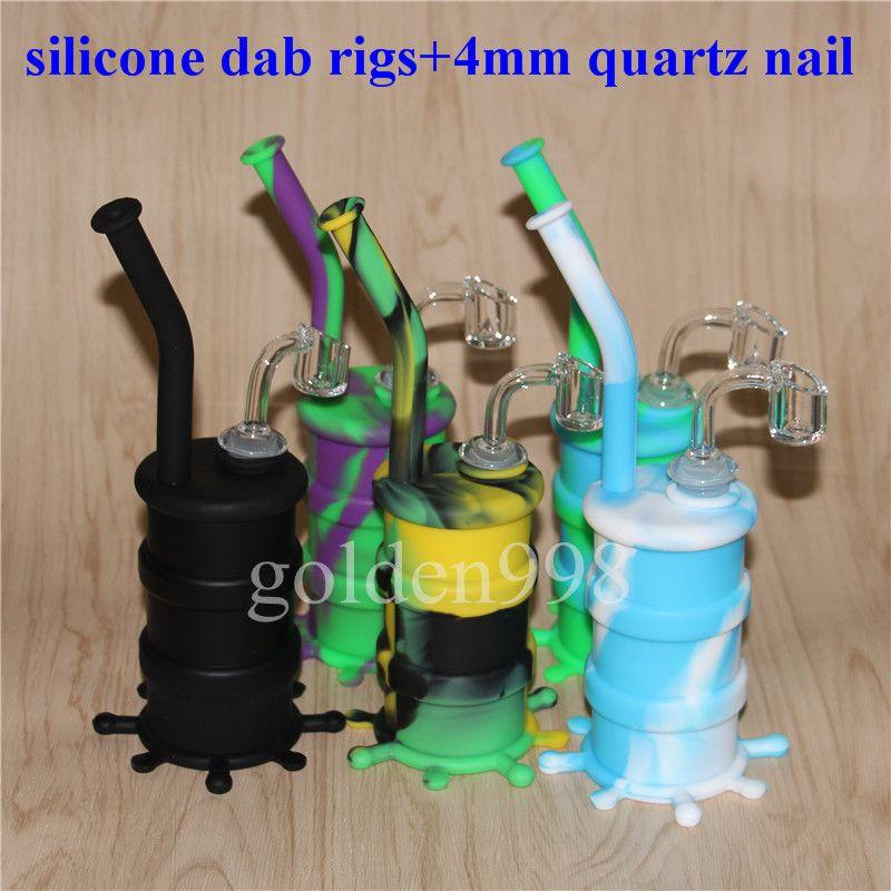 Frei Beliebte Silikon Rigs Silikon Shisha Wasserbongs Silicon Oil Dab Rigs Wasserleitungen Mit Clear 4mm 14mm Male Dicke Quarz Nails