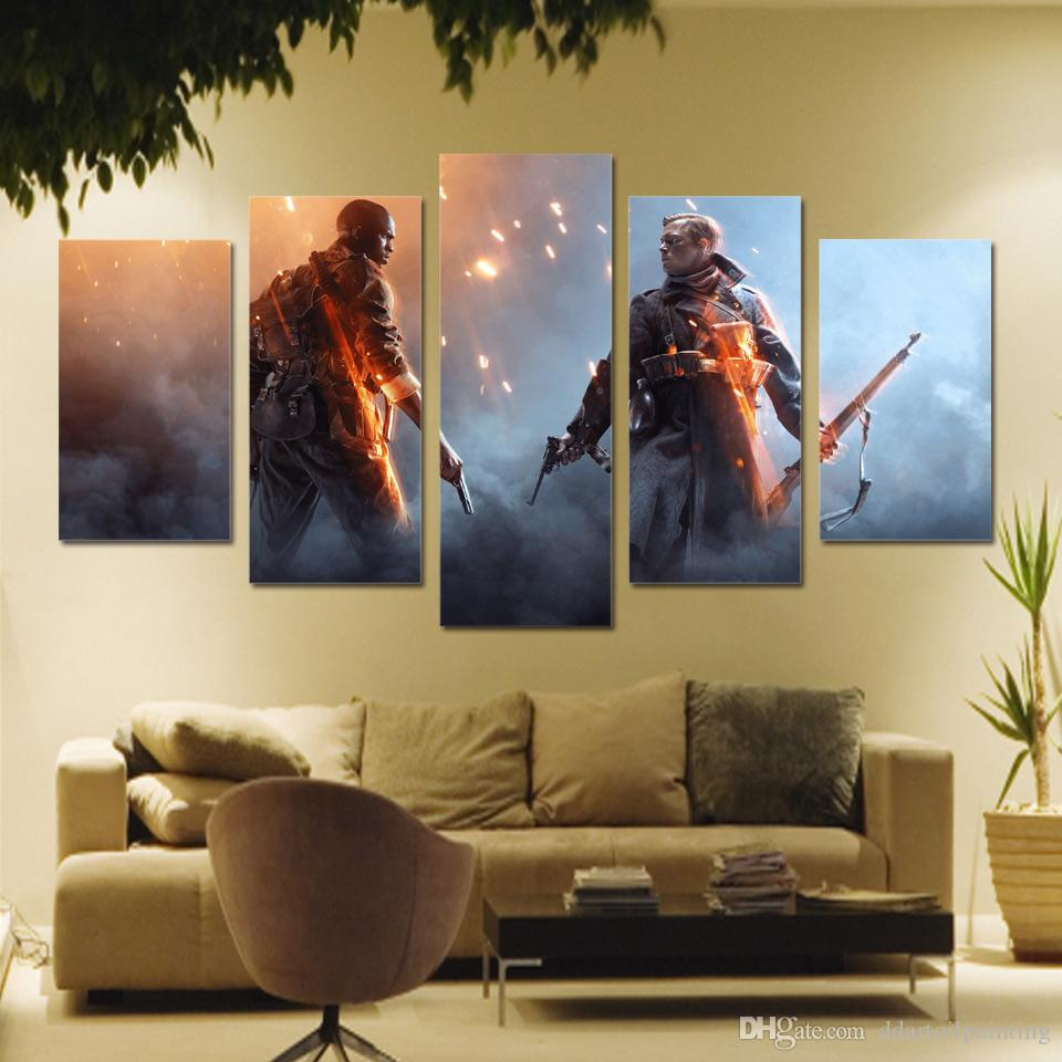 "Battlefield 1 LARGE 60""x32"" 5Panels Art Canvas Print GameThe Art Of Battlefield 1 Character Posters Wall Home Decor interior No Frame"