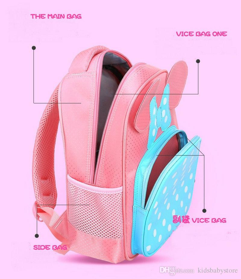 Fashion Butterfly Design Children Cartoon Schoolbag Baby Kindergarten Pink Rose Shoulders School Bag Travel Bag Daypack For Girls Kids