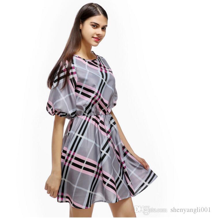 No verão de 2019, o outono novo vestido sexy xadrez gola meia manga vestido camisa casual saia vestido de princesa