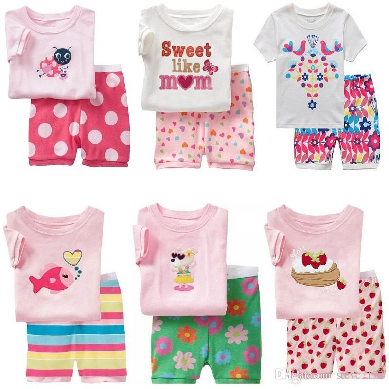 d8a0b1aa4 Fashion Baby Girls Sleepwear Clothes Suit Summer T-Shirts Shorts Pants PJ'S  Tee Shirts 2-Pieces Clothing Suit 100% Cotton Tops Children's Outfits Girls  Suit ...