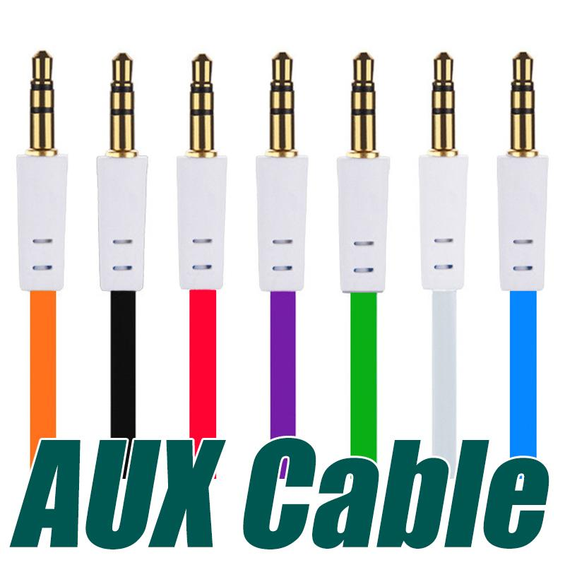 3.5mm Aux Cable Colorful Flat Auxiliary Audio Cable Male to Male Cord Universal For MP3 Headphones Speaker MP4 Cell Phones
