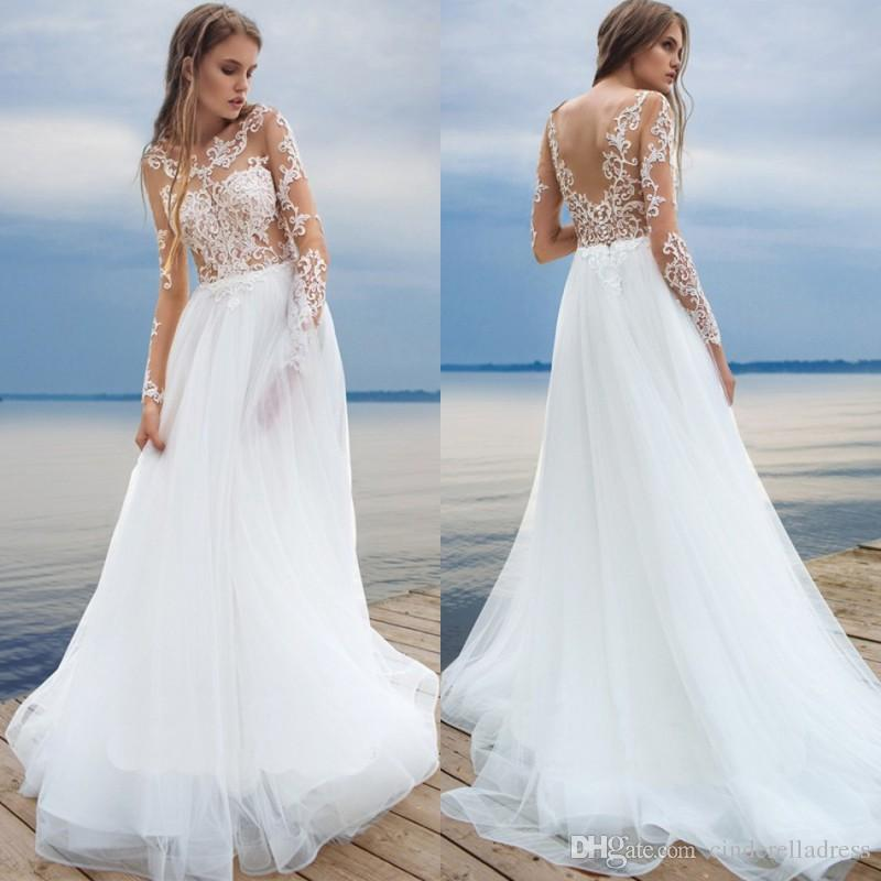 Discount 2017 Beach White Wedding Dresses Long Sleeve Lace ...
