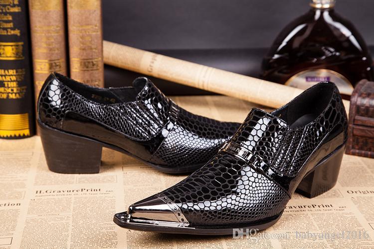 Luxo Mens Business Lazer Preto Vestido Sapatos De Grife De Metal Toe Charme Crocodilo Padrão Sapatos De Couro Para Homens Lacing Up 38-46