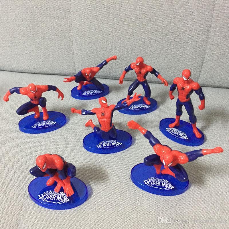 Die Avengers Spider Man 7 Stücke PVC Action-figuren Sammeln Modell Comics Heroes Spiderman für kinder Geschenk Spielzeug 7-11 cm