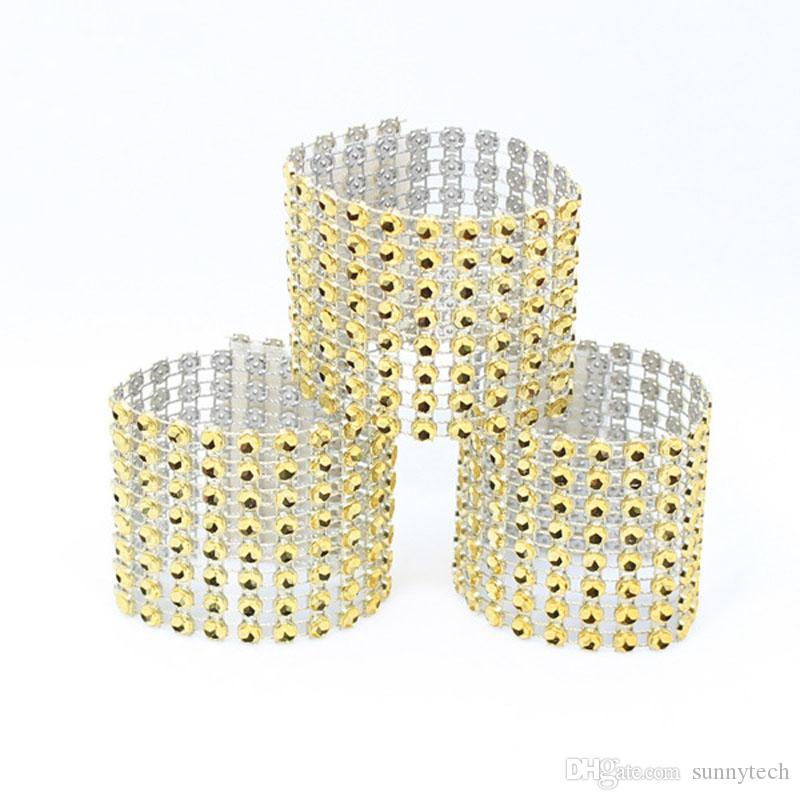 8 Row Mesh Bow Covers With Closure Bling Napkin Ring Diamond Serviette Holder Rhinestone Chair Sashes Bows ZA4660
