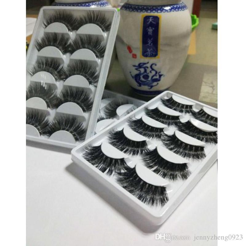 3 Boxen Beliebte 5 Paare 3D Handgemachtes Nerz Haar Lange Dicke Kreuz Falsche Wimpern Makeup Eye Wimpern Erweiterung Hohe Qualität
