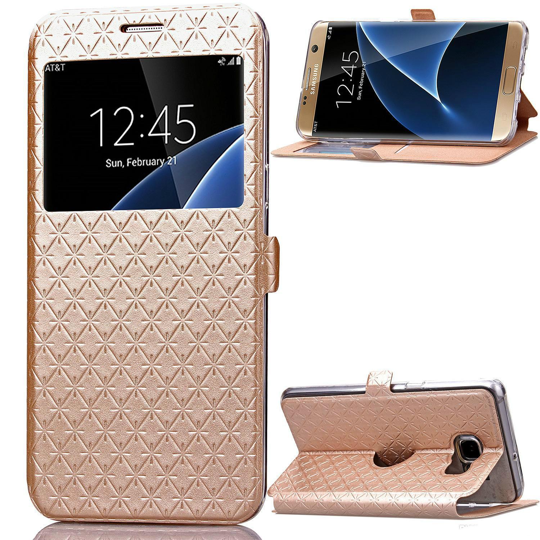 Handyshop Flip Case Für Samsung Galaxy S7 Rand Mit fenem Fenster Pu Tpu Leder Handy Handy Wallet Cover Case Protector Mit Kickstand Fu Handyhuellen Von