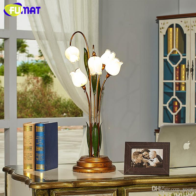 Fumat Glass Table Lamp Pastoral Flower Shade Lamp For Living Room