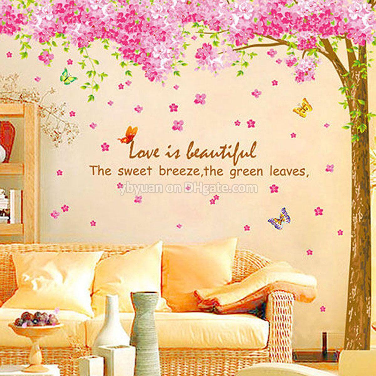 Xl Cherry Blossom Tree Wall Sticker Removable Sakura Flower Decals ...