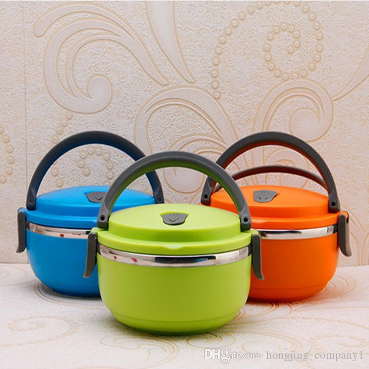 New Stainless Steel Lunch Box with handle Thermos for Food Container insulation Student Bento box Dinnerware discount sale