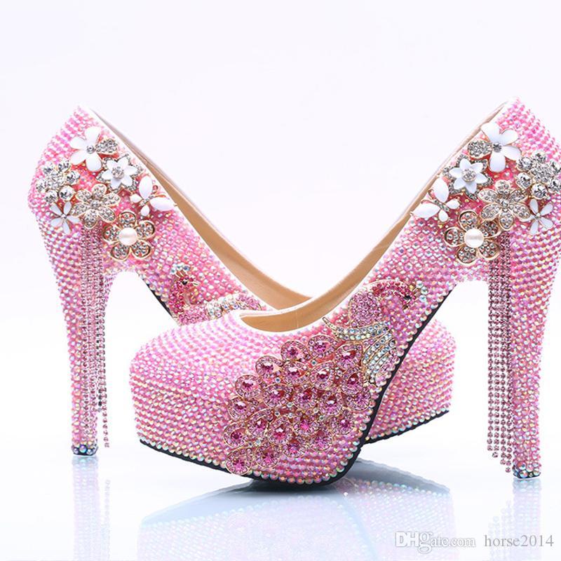 2017 neue Angekommene Wunderschöne Rosa AB Kristall Brautkleid Schuhe Leistung Tanzen High Heel Schuhe Pfennigabsatz Hochzeit Prom Pumps