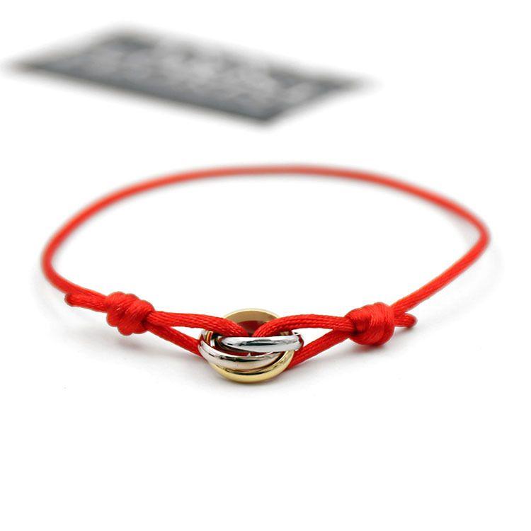 Fashion love Charm Bracelets Red String Handcrafted Macrame Rope Bangles Cube Micro three circle Zircon love Bracelet Woman Man Jewelry