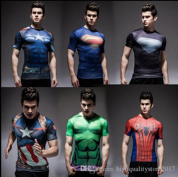269bbc62582 2019 2016 2017 Tights Rugby Jersey Fitness Workout Clothes Iron Man Captain  America Superman Batman Spiderman Cool Running Ronaldo Rugby Jerseys From  ...