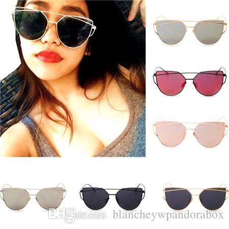 1b4a426230 2019 New Women And Men Cat Eye Sunglasses Fashion Brand Designer Twin Beams  Coating Mirror Sun Glasses Female Sunglasses With Case And B From ...