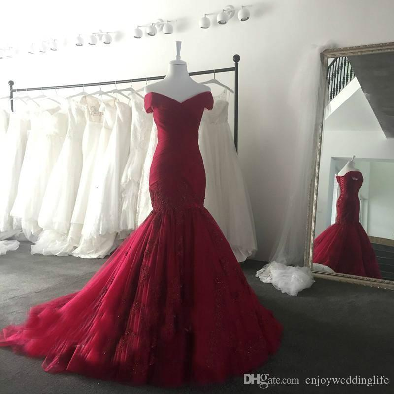 2017 New Elegant Burgundy Off-The-Shoulder Prom Dresses Lace Appliqued Sequins Mermaid Evening Dresses Corset Back Vintage Long Sweep Train