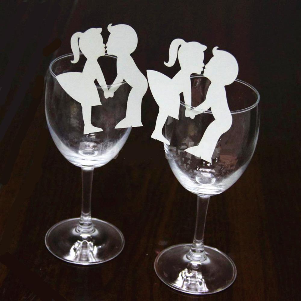 2018 Creative Lovers Couples Escort Liquor Fluid Wine Glass Paper ...