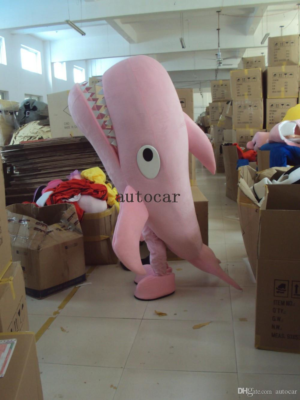 Розовый акула костюм талисмана взрослых характер костюм талисмана как мода бесплатная доставка