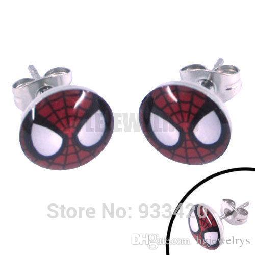 ! Enamel Spiderman Mask Earring Body Piercing Stainless Steel Jewelry Fashion Motor Earring Studs SJE370068