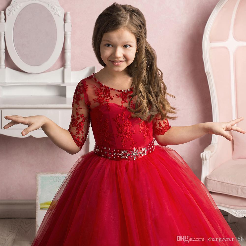 Потрясающие Кружева Вышивка Sheer Половина Рукава Цветочница Платье Из Бисера Декольте Драгоценный Камень Пояс Тюль Дети Театрализованное Платье 0-12 Летний