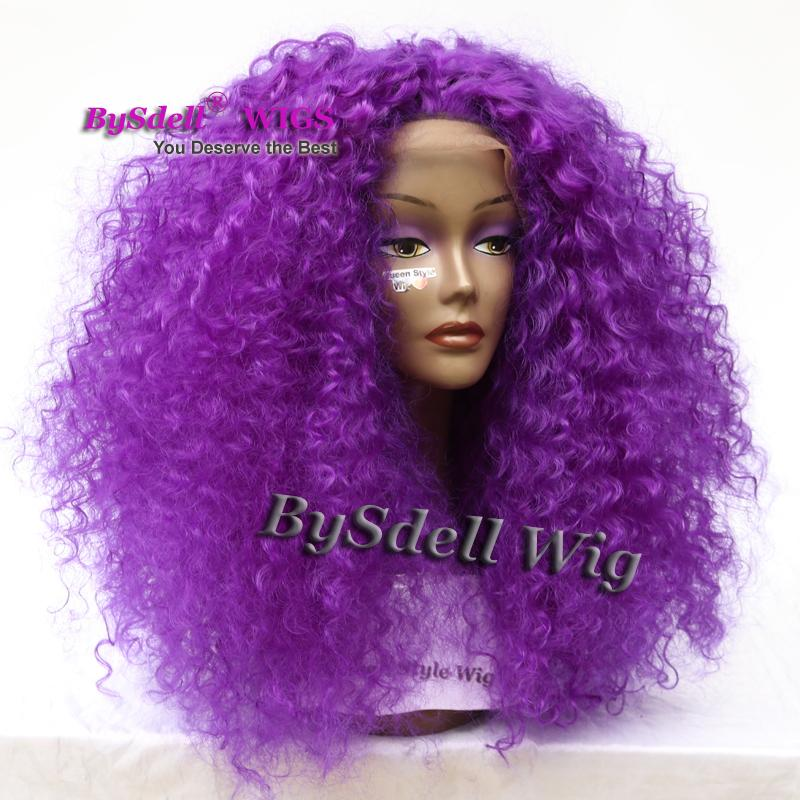 African American Wigs Synthetic Purple Color Big Afro kinky Curly Hair Front Lace Wigs for Black Women Lace Front Wigs