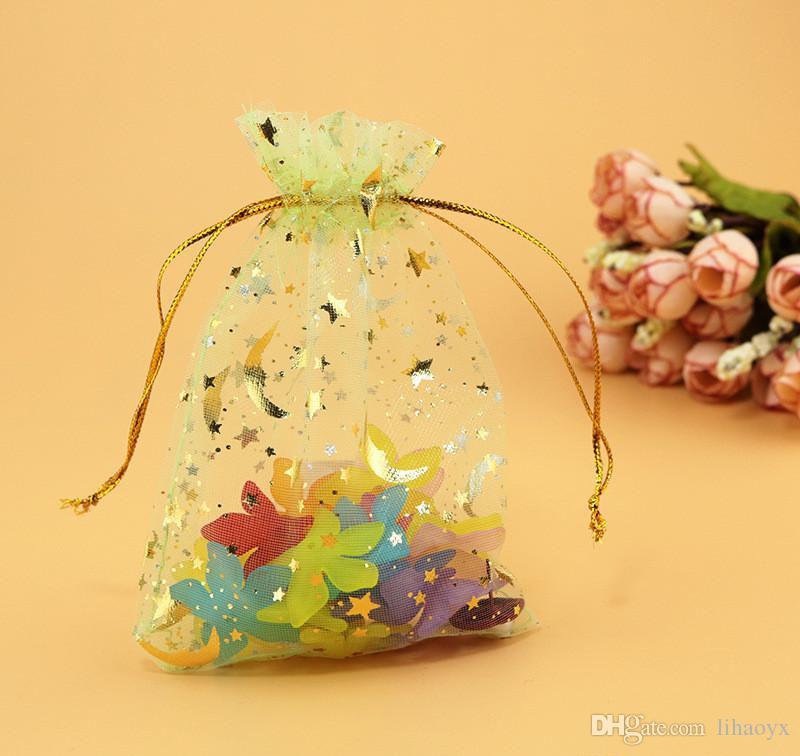 100 adet / grup organze çantalar ay ve yıldız İpli torbalar Hediye BagsPouches 7x9 cm mücevherat çantası