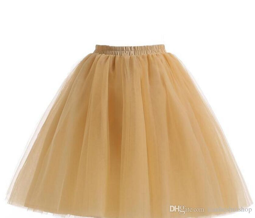 Champagne Tulle Skirts For Women Knee Length Ruffles Tutu Skirts Cheap Party Skirts Plus Size Custom Made Prom Dresses