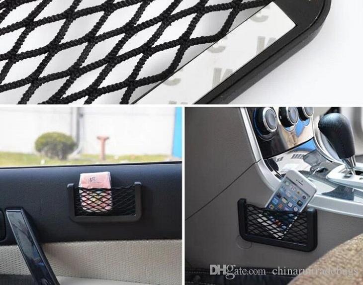 Araba Net Çanta Araba Organizatör Ağları 15X8 cm Otomotiv Yapıştırıcı Visor Ile Arabalar Araba Syling Çanta Depolama araçları Cep telefonu için