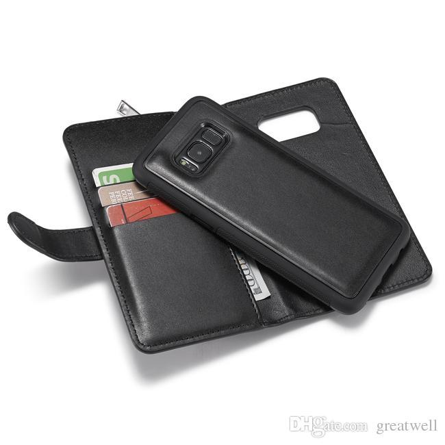 Funda de cuero multifunción para el iPhone XS Max XR 8 7 6S Plus S7 S8 S9 S9 S10 Plus Nota 8 9 Monedero con cremallera Funda Funda para teléfono Funda para mujer