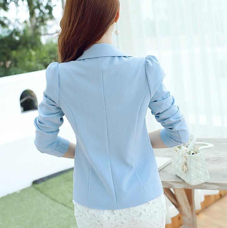 Fashion Women Blazer Spring Woman Slim Puff Long Sleeve One Button Jacket Candy Color Formal Suits Female Work Blazer